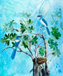 Bird Painting of Blue Jays